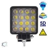 Προβολέας LED 5D Εργασίας Square 48 Watt 10-30v Ψυχρό Λευκό GloboStar 50100