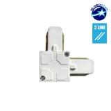 Connector Συνδεσμολογίας Ελ (L) για Λευκή Ράγα Οροφής GloboStar 93026