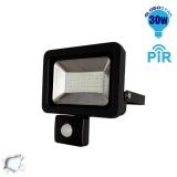 Προβολέας LED Slim Pad Globostar 30 Watt 230v Ψυχρό με Αισθητήρα
