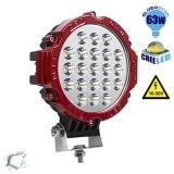 Προβολέας LED Εργασίας RED Round 63 Watt 10-30v Ψυχρό Λευκό GloboStar 05197