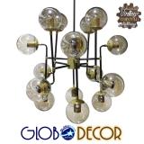 Vintage Industrial Φωτιστικό Οροφής Πολύφωτο Μαύρο Πολυέλαιος με Γυάλινες Μπάλες GloboStar TESLA 01218