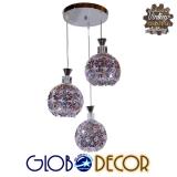 Μοντέρνο Κρεμαστό Φωτιστικό Οροφής Τρίφωτο Ασημί Μεταλλικό με Κρύσταλλα Φ50 GloboStar BOUQUET 01248