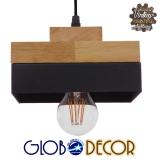 Μοντέρνο Κρεμαστό Φωτιστικό Οροφής Μονόφωτο Μαύρο Μεταλλικό με Φυσικό Ξύλο Καμπάνα Φ18 GloboStar LAOTH 01234