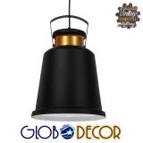 Vintage Industrial Κρεμαστό Φωτιστικό Οροφής Μονόφωτο Μαύρο Μεταλλικό Καμπάνα Φ27 GloboStar NUNZIATA 01236