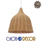 Vintage Κρεμαστό Φωτιστικό Οροφής Μονόφωτο Μπεζ Ξύλινο Rattan Φ45 GloboStar NATH 01203