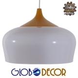 Μοντέρνο Κρεμαστό Φωτιστικό Οροφής Μονόφωτο Λευκό Μεταλλικό Καμπάνα Φ35 GloboStar VILI WHITE 01260
