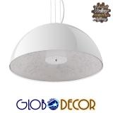 Μοντέρνο Κρεμαστό Φωτιστικό Οροφής Μονόφωτο Λευκό Γύψινο Καμπάνα Φ60 GloboStar SERENIA WHITE 01271