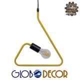 Μοντέρνο Κρεμαστό Φωτιστικό Οροφής Μονόφωτο Κίτρινο Μεταλλικό GloboStar KIDDY TRIANGLE 01097