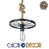 Vintage Industrial Κρεμαστό Φωτιστικό Οροφής Μονόφωτο Μαύρο Πλέγμα με Μπεζ Σχοινί Φ30 GloboStar VELO 01185