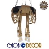 Vintage Industrial Κρεμαστό Φωτιστικό Οροφής Πολύφωτο Μαύρο με Μπεζ Σχοινι Φ60 GloboStar MARBELLA 01116