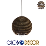 Vintage Κρεμαστό Φωτιστικό Οροφής Μονόφωτο 3D από Επεξεργασμένο Σκληρό Καφέ Χαρτόνι Καμπάνα Φ20 GloboStar SANTORINI 01288