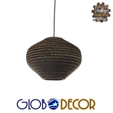Vintage Κρεμαστό Φωτιστικό Οροφής Μονόφωτο 3D από Επεξεργασμένο Σκληρό Καφέ Χαρτόνι Καμπάνα Φ30 GloboStar ZAKYNTHOS 01293