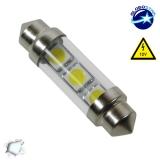 Σωληνωτός LED Γυάλινος 39mm με 3 SMD 5050 Λευκό 6000k GloboStar 26650