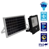 Αυτόνομος Ηλιακός Φωτοβολταϊκός Προβολέας LED 50 Watt IP 65 με Αισθητήρα Κίνησης Ψυχρό Λευκό 6000k GloboStar 12103