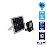 Αυτόνομος Ηλιακός Φωτοβολταϊκός Προβολέας LED 10 Watt IP 65 με Αισθητήρα Κίνησης Ψυχρό Λευκό 6000k GloboStar 12101
