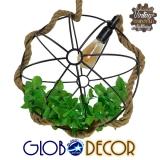 Vintage Industrial Κρεμαστό Φωτιστικό Οροφής Μονόφωτο Πλέγμα με Μπεζ Σχοινί GloboStar Φ42 LEVANTA 01329
