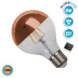 Γλόμπος LED Edison Filament Retro Ανεστραμμένου Καθρέπτου Χάλκινο E27 4 Watt G80 Θερμό Λευκό 2200k Dimmable GloboStar 44033