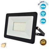 Προβολέας LED Slim Pad 100 Watt 230v Θερμό Λευκό 3000k IP66 GloboStar 11137