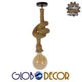 Vintage Industrial Κρεμαστό Φωτιστικό Οροφής Μονόφωτο με 1 μέτρο Μπεζ Σχοινί GloboStar ROPE 01278