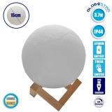 Επαναφορτιζόμενο Διακοσμητικό Ανάγλυφο Φωτιστικό Αφής 3D Moon 15cm 2 Χρωμάτων Ντιμαριζόμενο GloboStar 07028