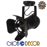Vintage Industrial Φωτιστικό Οροφής Μονόφωτο Μαύρο Μεταλλικό GloboStar DETROIT 01372