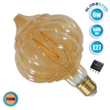 Λαμπτήρας LED Edison Filament Retro Μελί E27 6 Watt Acorn Θερμό Λευκό 2200k Dimmable GloboStar 44035