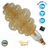 Λαμπτήρας LED Edison Soft Filament Retro Μελί E27 12 Watt BH200 Grapes Θερμό Λευκό 2200k Dimmable GloboStar 44045