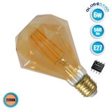 Λαμπτήρας LED Edison Filament Retro Μελί E27 6 Watt Diamond Θερμό Λευκό 2200k Dimmable GloboStar 44034