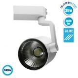 Διφασικό Bridgelux COB LED Φωτιστικό Spot Ράγας 30 Watt Ψυχρό Λευκό GloboStar 93085