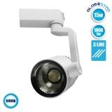 Διφασικό Bridgelux COB LED Φωτιστικό Spot Ράγας 15 Watt Ψυχρό Λευκό GloboStar 93082