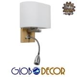Μοντέρνο Φωτιστικό Τοίχου Απλίκα Δίφωτο Ξύλινο με Λευκό Ματ Γυαλί και Βραχίονα με LED GloboStar SUTTON 01316