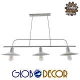 Vintage Industrial Φωτιστικό Οροφής Τρίφωτο Λευκό Μεταλλικό Ράγα GloboStar BILLIARD WHITE 01010