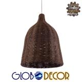 Vintage Κρεμαστό Φωτιστικό Οροφής Μονόφωτο Καφέ Σκούρο Ξύλινο Ψάθινο Rattan Φ30 GloboStar NELLY 01367