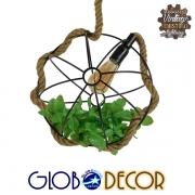 Vintage Industrial Κρεμαστό Φωτιστικό Οροφής Μονόφωτο Πλέγμα με Μπεζ Σχοινί Φ33 GloboStar DELANO 01328