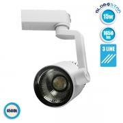 Διφασικό Bridgelux COB LED Φωτιστικό Spot Ράγας 15 Watt Φυσικό Λευκό GloboStar 93081