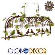 Vintage Industrial Κρεμαστό Φωτιστικό Οροφής Πολύφωτο Καφέ Σκουριά Μεταλλικό Πλέγμα GloboStar SANCTUM 01402