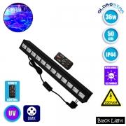 LED Μπάρα Φωτισμού DMX 512 με Ασύρματο Χειριστήριο UV Black Light 36 Watt 50cm GloboStar 05036