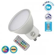 LED Σποτ GU10 6 Watt 220 Volt RGB & Θερμό Λευκό με Ασύρματο Χειριστήριο GloboStar 88968