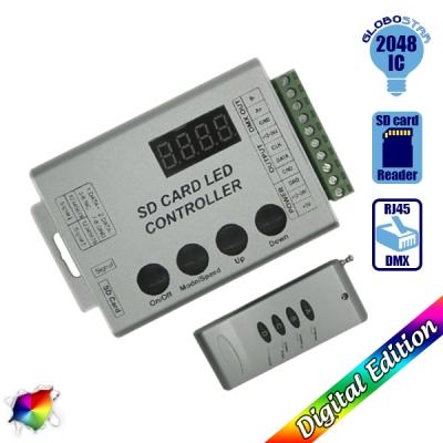 LED Digital Controller HC03 2048 IC DMX512 SD CARD για LED Digital Strip RGB GloboStar 88768