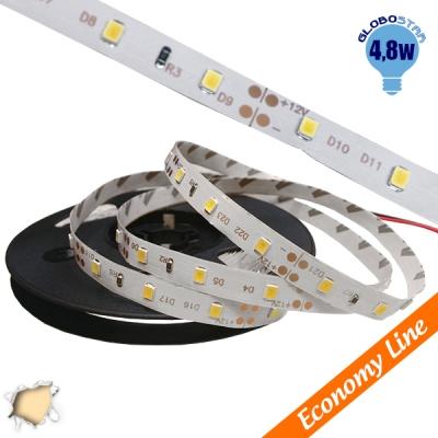 Eco Ταινία LED 4.8 Watt 12 Volt Θερμό Λευκό IP20 GloboStar 33402