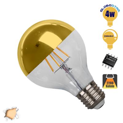 Γλόμπος LED Edison Filament Retro Ανεστραμμένου Καθρέπτου Χρυσό E27 4 Watt G80 Θερμό Dimmable GloboStar 44026