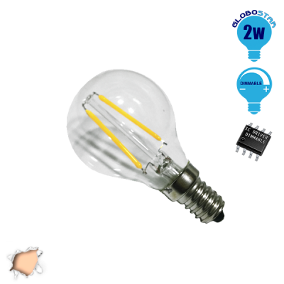 Γλομπάκι LED Edison Filament Retro E14 2 Watt g45 Θερμό Dimmable GloboStar 44005