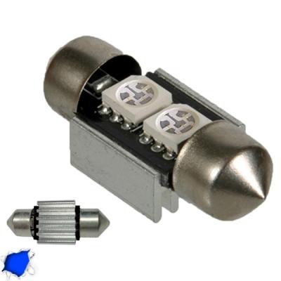 Σωληνωτός LED 31mm Can Bus με 2 SMD Μπλε GloboStar 41650