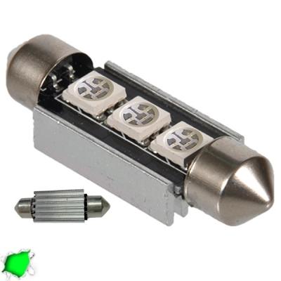 Σωληνωτός LED 39mm Can Bus με 3 SMD Πράσινο GloboStar 51652