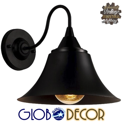 Vintage Industrial Φωτιστικό Τοίχου Απλίκα Μονόφωτο Μαύρο Καμπάνα Φ30 GloboStar BELL 01038