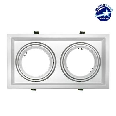 Χωνευτή Τετράγωνη Διπλή Βάση για Spot AR111 Λευκή Κινούμενη σε 2 άξονες GloboStar 90078