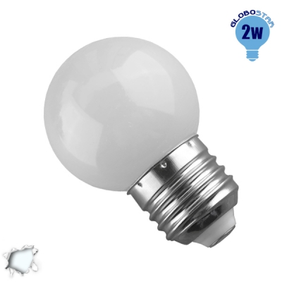 Mini Γλόμπος LED G45 2 Watt Ψυχρό Λευκό GloboStar 64003
