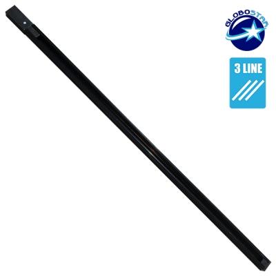 Διφασική Ράγα 3 Καλωδίων 1 Μέτρο Μαύρη για Φωτιστικά Ράγας GloboStar 93021