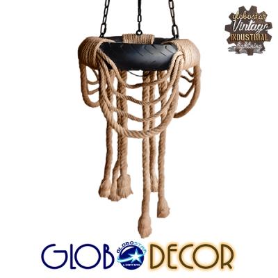 Vintage Industrial Κρεμαστό Φωτιστικό Οροφής Πολύφωτο Μαύρο με Μπεζ Σχοινί Φ45 GloboStar RUNNER 01115