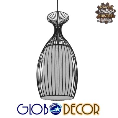 Μοντέρνο Κρεμαστό Φωτιστικό Οροφής Μονόφωτο Μαύρο Μεταλλικό Πλέγμα με Υφασμάτινο Εσωτερικό Καπέλο Φ20 GloboStar REA 01196